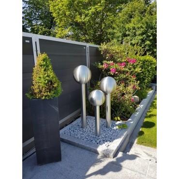 Edelstahl Gartenbrunnen Modell BERLIN mit 3 Säulen + Kugel inkl. LED