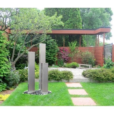 Gartenbrunnen aus Edelstahl Modell New York mit 3 Säulen