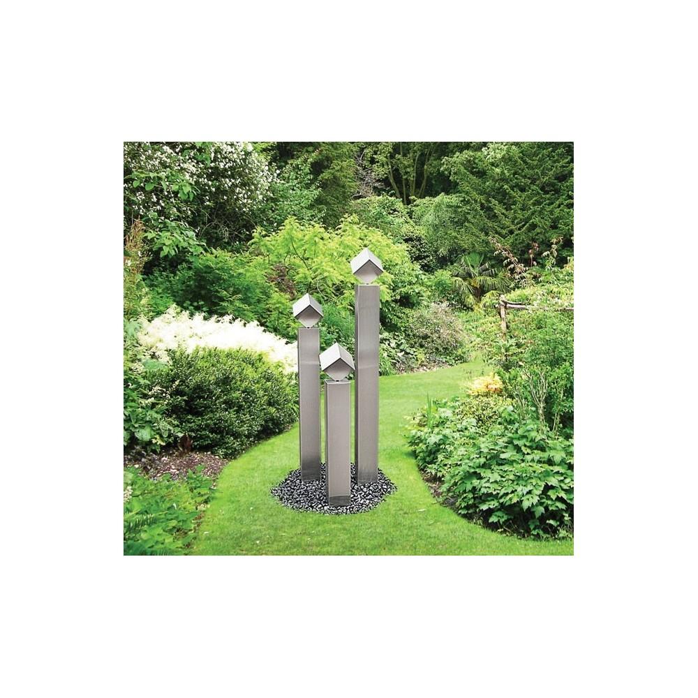 Gartenbrunnen aus Edelstahl mit 3 Säulen